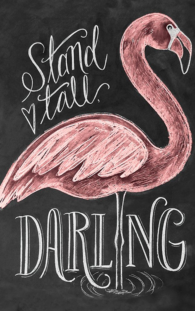 Flamingo typography quote wall art