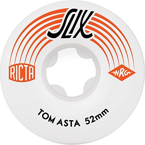 Ricta 52mm SLIX Tom Asta 81b Wheels (Set Of 4) - http://shop.dailyskatetube.com/product/ricta-52mm-slix-tom-asta-81b-wheels-set-of-4/ -  Tom Asta's Professional Slix through Ricta Wheels. Ricta Slix: Grind Sooner - Grind Longer. The revolution in skateboard wheel generation continues... Ricta Slix mix our NRG Formula, confirmed THE fastest urethane in skateboarding, with a customized molded TPU slide insert for thrice more slip -