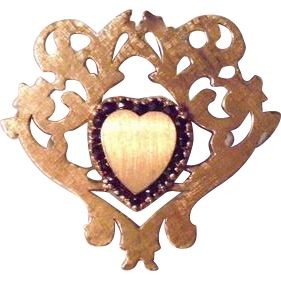 Preview sale items at www.rubylane.com -- Mother's Day 30% off Sale starts Friday, April 28th at 8 am PDT  and ends Sunday, April 30th at 8 am. @rubylanecom  Lucien Piccard Large 14K Solid Gold Rubies Heart Ornate Scalloped Brooch by French Designer
