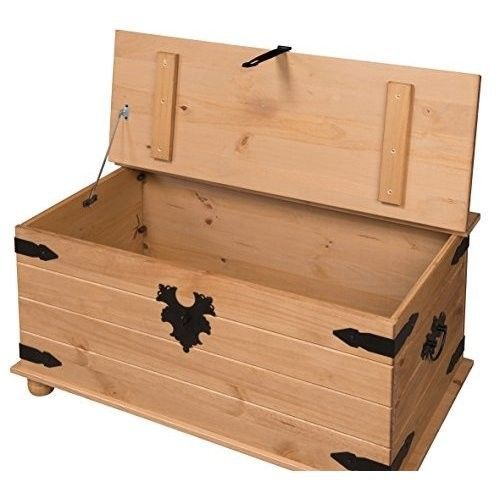 Wooden Storage Chest Vintage Treasure Trunk Toy Blanket Box Bedroom Hall Ottoman