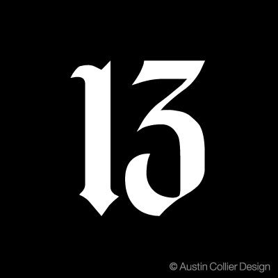 The Lucky Number 13 | Number 13 - White Vinyl Decal