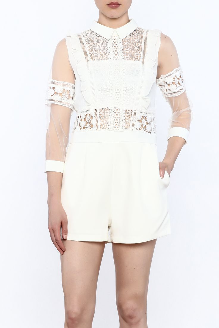 All white romper with sleek crochet fabric on top and three-quarter length sleeves. Elegant piece with a high neckline, functional pockets and a hidden zipper closure below the keyhole detail.   White Crochet Top Romper by Moon. Clothing - Jumpsuits & Rompers - Rompers Clothing - Jumpsuits & Rompers - Rompers - Lace Manhattan, New York City New York City