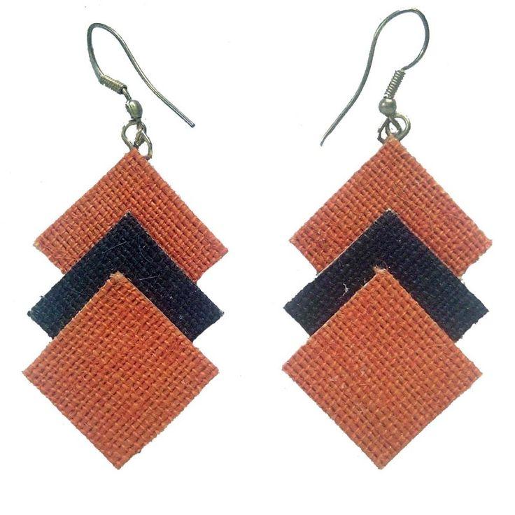 Handicraft ProductNew DesignStylish -Tri-Square shapedJute Work - Light Orange - Black