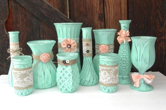 Burlap and Lace, Mint and Peach SHABBY CHIC Vase set of 10 on Etsy, $139.00