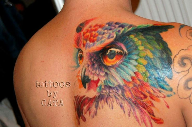 Watercolor owl tattoo by CATA