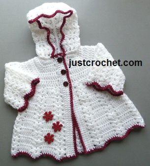 Free baby crochet pattern hooded coat uk