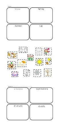 Kindergarten Four Seasons Sort English/Spanish Las 4 estaciones