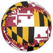 Patriotic Softball with flag of Maryland, USA