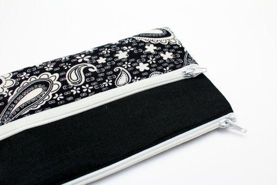 Sale Black and White Paisley Pencil Case/ Makeup Bag 19cm x