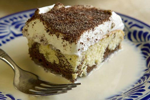 Reinventing a Classic: Marbled Tres Leches Cake ~ In my home we made a Marbled Tres Leches Cake as a compromise for my boys' indecision over making it vanilla or chocolate. Now it's our favorite version.