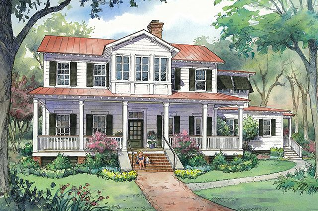 New vintage lowcountry sl 1831 image southern living house plans style low country - Southern living house plans one story ideas ...