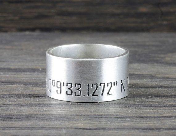 Anillo personalizado, latitud longitud ancho de banda, anillo de coordenadas, latitud longitud anillo, anillo de ubicación, amplia banda anillo FT5