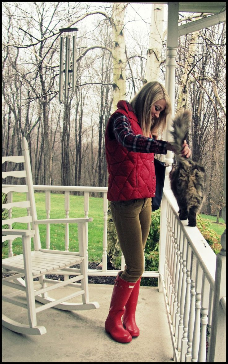 Red Hunter boots, olive green cords, red quilted vest, black/red /white plaid shirt- cute outfit for exploring on a crisp fall day