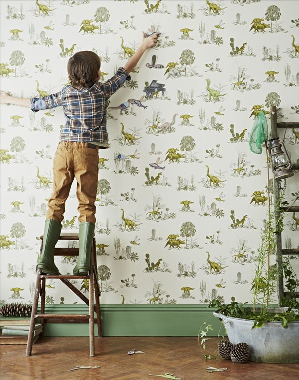 Magnetic Dino Wallpaper- I have always dreamed of havinga little boy with a dinosour room... LOVE.