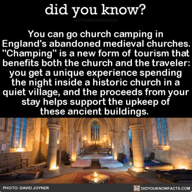 Champing, such a cool way to visit the UK. http://www.champing.co.uk/our-champing-churches/