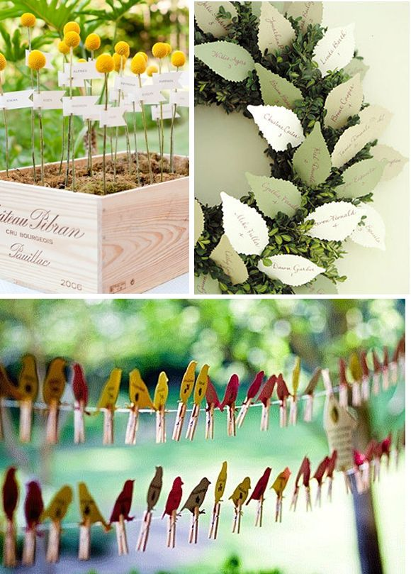 THE BIRDS>>> I LOVE THEM! Take a Seat! {Creative Escort Card Displays}   Engaged & Inspired