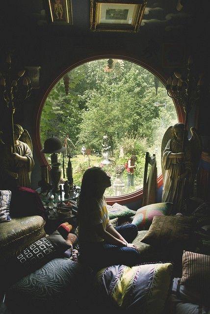meditation room bliss: Round Window, Hobbit Hole, Meditation Corner, Meditation Rooms, Pillows Rooms, Places, House, Circle, Hippie Life