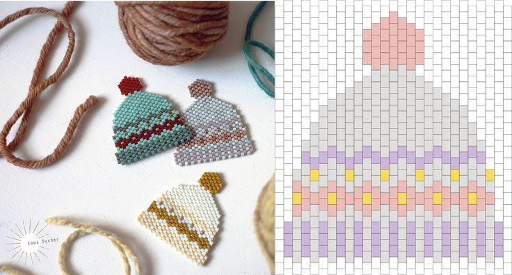Bonnets en tissage de perles - L'encre Violette