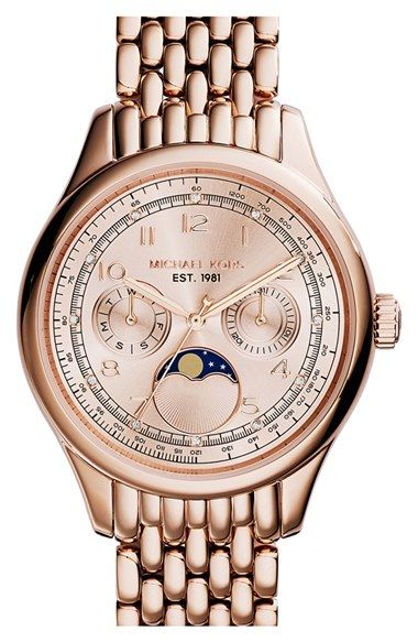 MICHAEL Michael Kors Michael Kors 'Amelia' Moon Phase Bracelet Watch, 38mm available at #Nordstrom