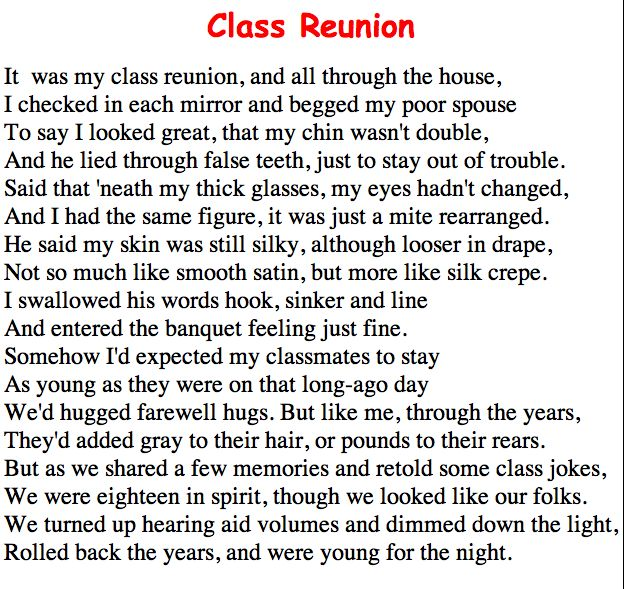 class-reunion essay Shimer college reunion essay on father's day weekend in 1993, i attended a reunion of the alumni of my alma mater, shimer college, held at its former.