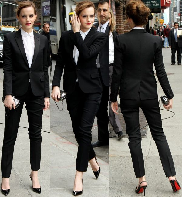 Emma Watson arriving at the Ed Sullivan Theater for her guest appearance on the 'Late Show with David Letterman' in New York City on March 25, 2014