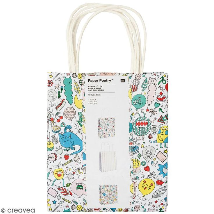 Set de bolsas de papel - Monster party - 18 x 21 cm - 3 uds