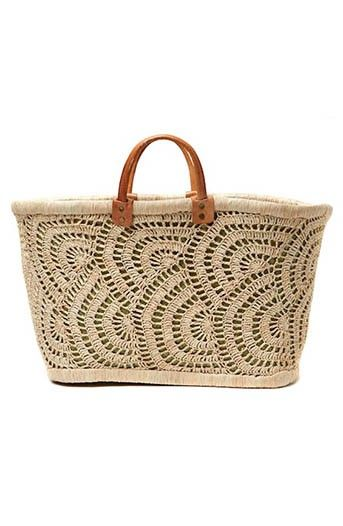 Mar y Sol Santorini Seagrass Basket Tote with Crochet Overlay in Natural. - Price: $94.00