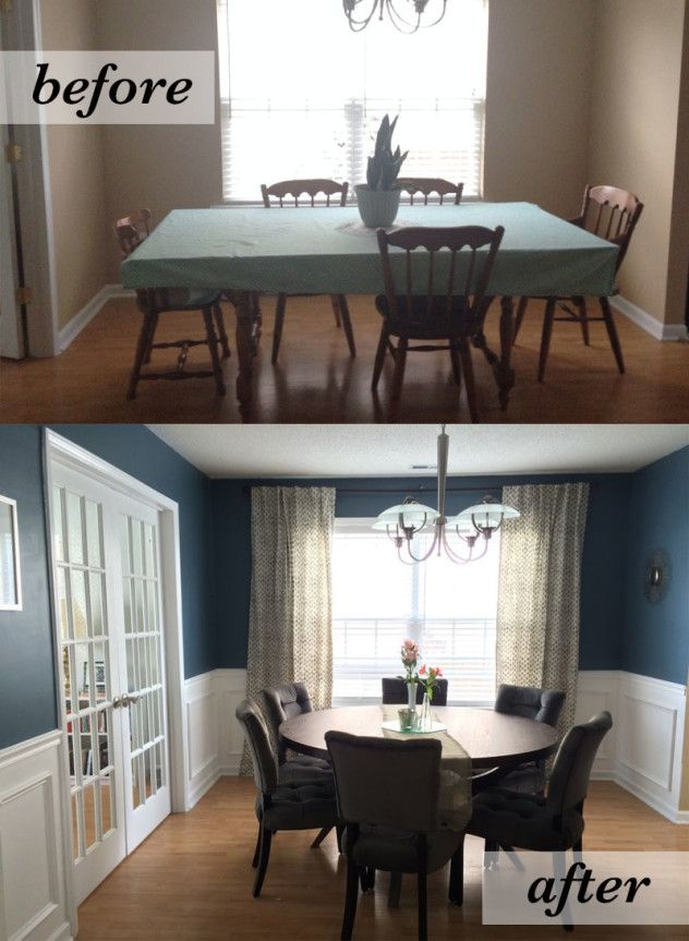 Dining room before and after - amazing what a little paint and wainscoting can do for a room! love the round table and navy walls