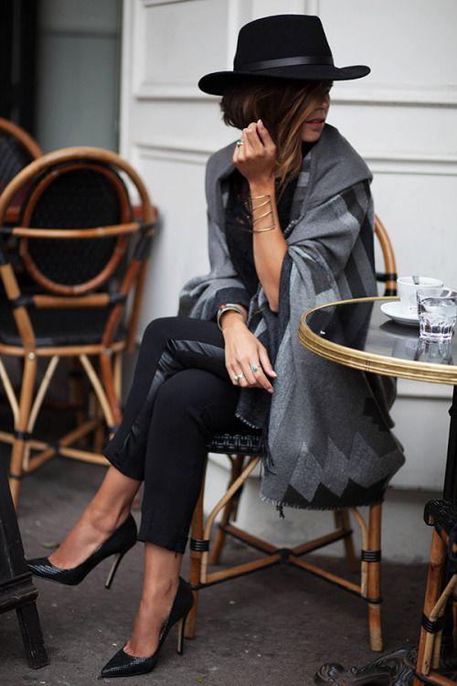 Black hat + long grey sweater jacket + black leather panel pants + black pointy toed pumps