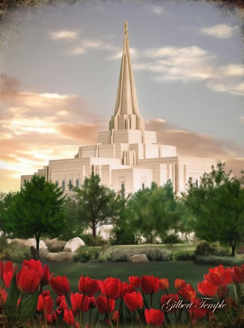 Gilbert Temple by Brent Borup There probably won't be any tulips unless they were forced and it was January. This is just an artists wish.