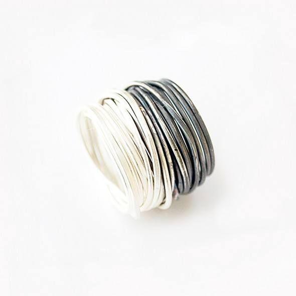 Oxidised Silver Spaghetti Ring, Disa Allsopp | Luxury Craft
