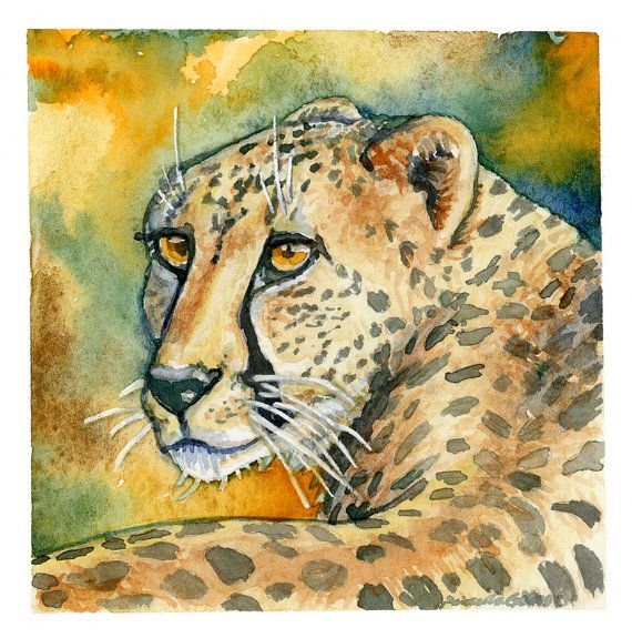 Cheetah Print Wall Art Safari Decor 3x3 5x5 by PriscillaGeorgeArt