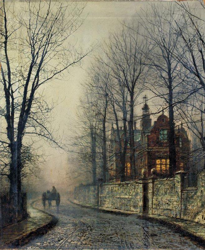 John Atkinson Grimshaw >> November Moonlight  |  (Oil, artwork, reproduction, copy, painting).