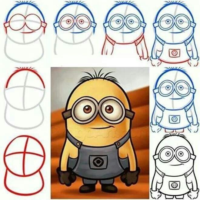 How to draw a minion? So you have a great minion in 8 steps!