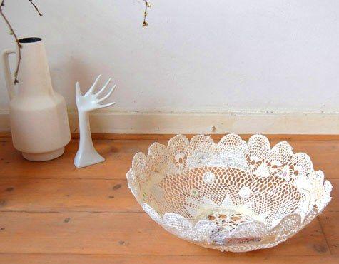 DIY lace doily bowl: Crafts Ideas, Diy Crafts, Lace Doilies, Lace Bowls, Cute Ideas, Design Sponge, Diy Gifts, Doilies Bowls, Diy Projects