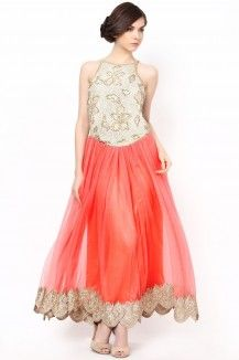 Peachish Pink Anarkli With Gold Embroidery Decorated With Stones Rs. 17,745
