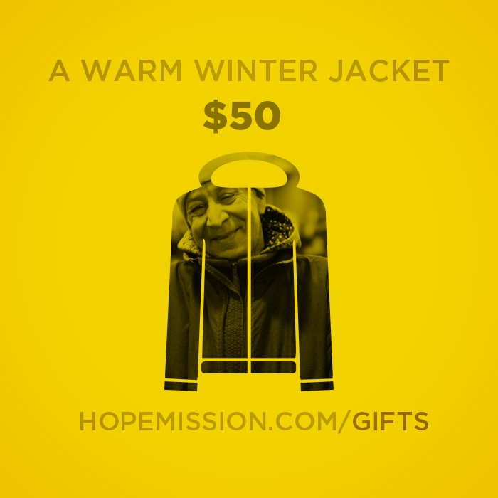 Highlights from our Christmas Gift Catalogue. A warm winter jacket costs just $50. Give at http://www.hopemission.com/gifts