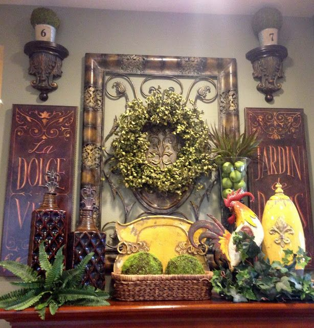 Savvy Seasons By Liz: Tuscan Mantle Vignette. (This Is So Pretty And Since  I Have Started To Plan My Spring Mantle Scape This Really Gives Me Ideas!