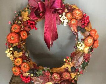 Ghirlanda autunnale, caduta ghirlanda, ghirlanda di halloween, ghirlanda autunno, corona della bacca, corona di zucca, foglie di autunno, more,