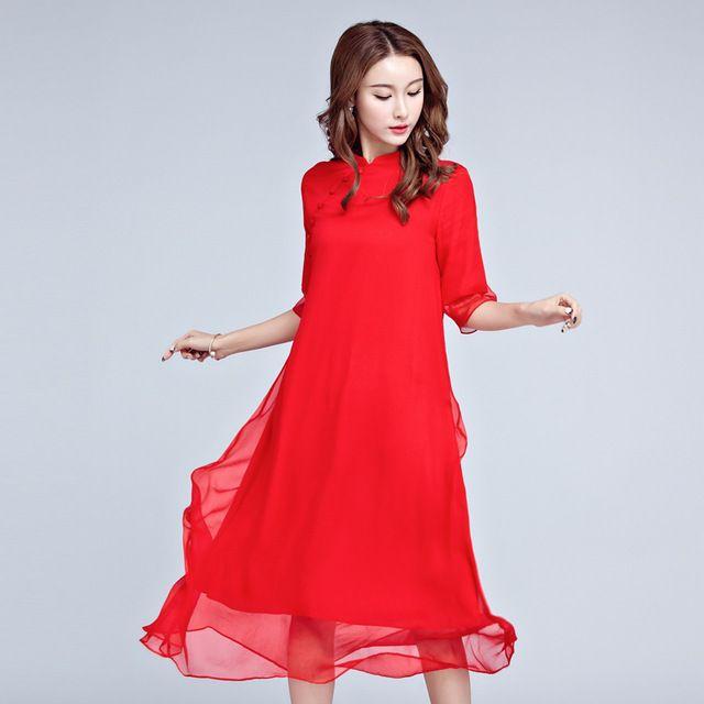 2017 Бесплатная Доставка Китай Новый Женский Cheongsam Ветер Национальный Красный Шелк Dress Красный Черный Мода Длинные Платья