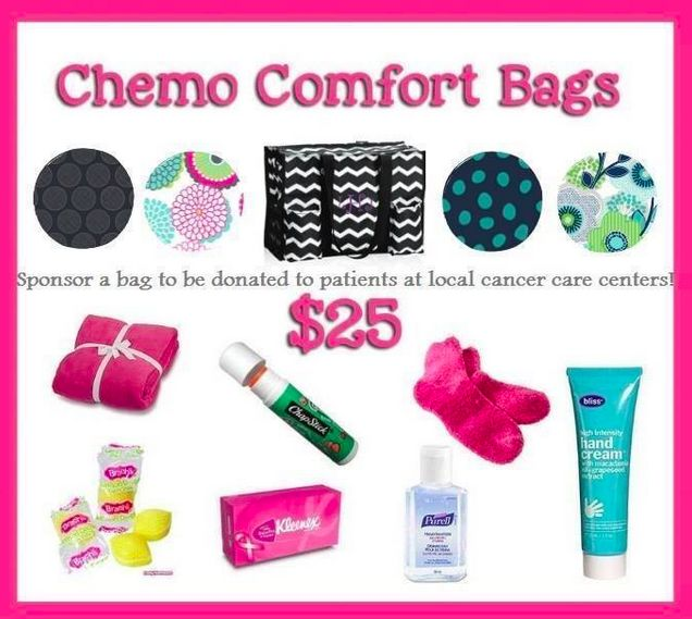 Thirty One Chemo Comfort Bags I want to sponsor 31 Chemo Comfort Bags to deliver to Cape Fear Cancer Specialists Chemo Center in Wilmington, NC next month. And I need your help!