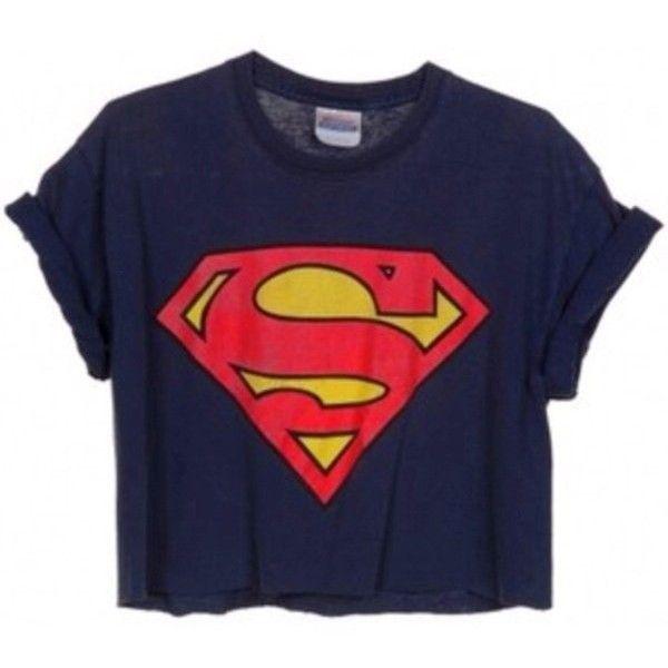 Womens Ladies Superman Batman Cropped Comic Hero Short Sleeves T Shirt... ❤ liked on Polyvore