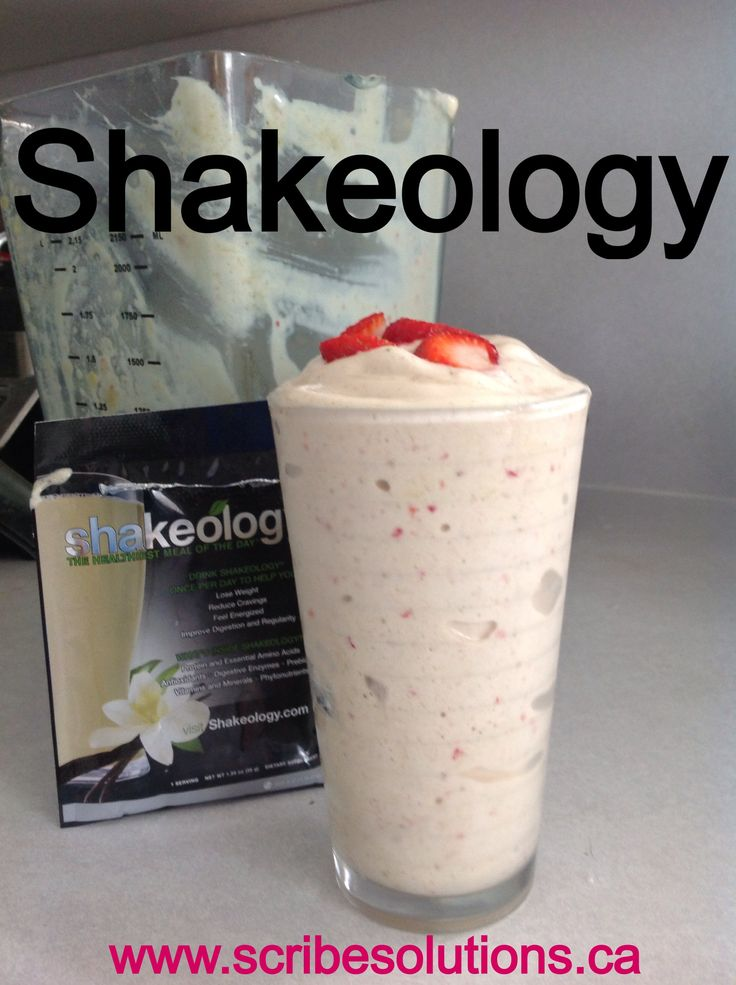 Strawberry Shortcake recipe:  1 pkg Vanilla Shakeology 1.5 cup frozen pineapple chunks 5 sliced strawberries .5 cup almond milk  For more information on Shakeology visit my site at www.scribesolutions.ca/Shakeology.html