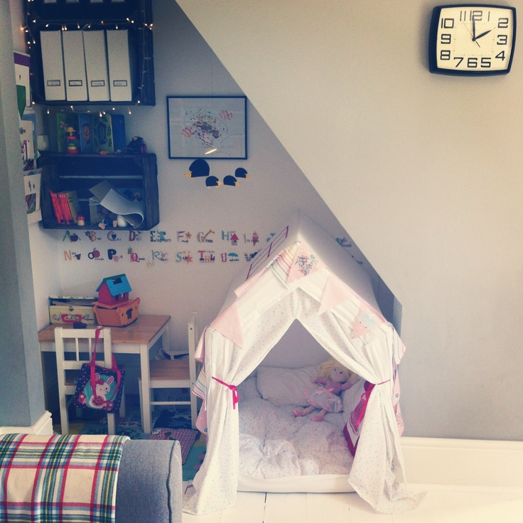 Stairs For Small Areas: DIY Play Tent/ Under Stairs Play Area Solution