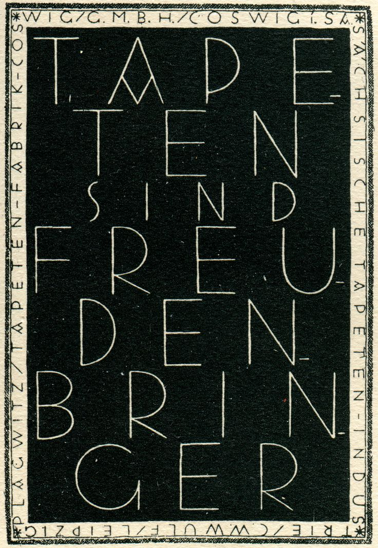 """Murals are Joy Bringers""  Design by Dore Mönkemeyer-Corty, Dresden, Prospekt. From Hoffmann's Schriftatlas, 1930"