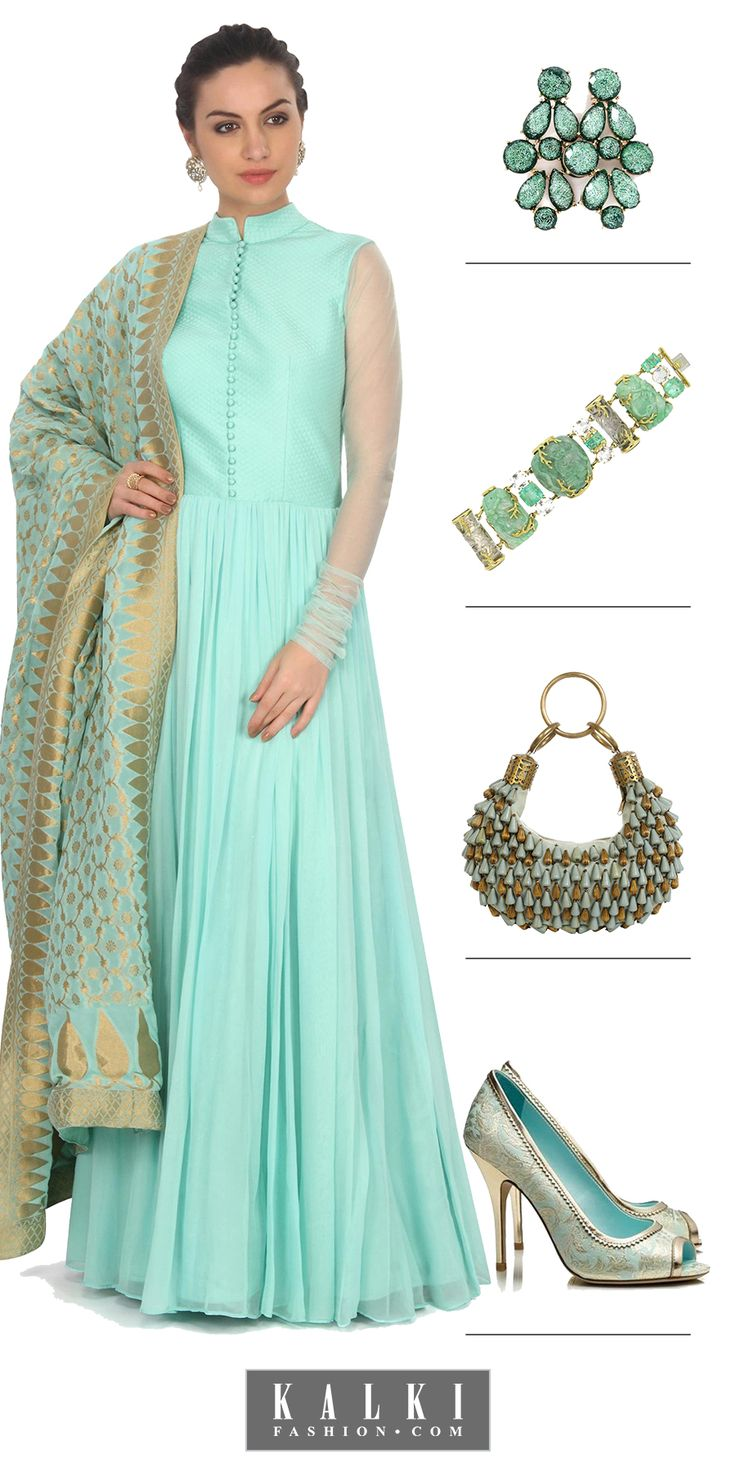 Please everyone's eye and be the frosty diva with this sea blue anarkali. Pair a contrasting blue clutch, shimmer heels and sport the complimenting earrings and bracelet to have your style points increased with opulence and grace.