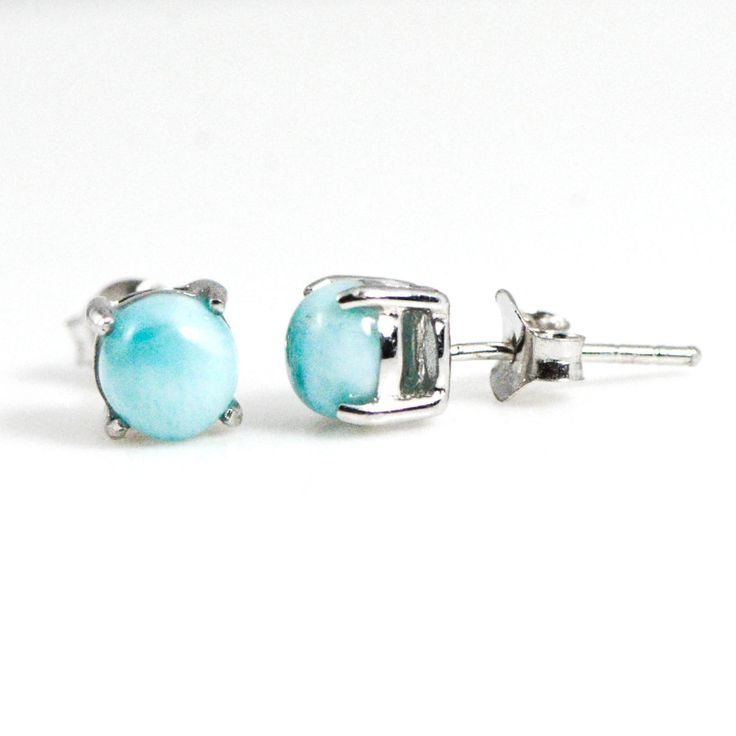 Sterling Silver Larimar Stud Earrings