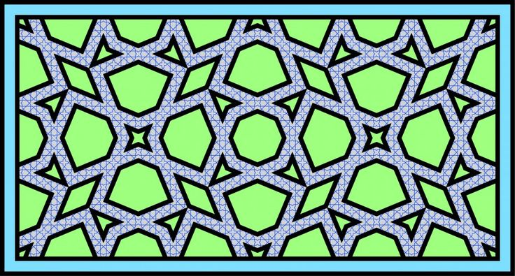 Self-similar Islamic geometric pattern with 4-fold symmetry in the Persian type B style.