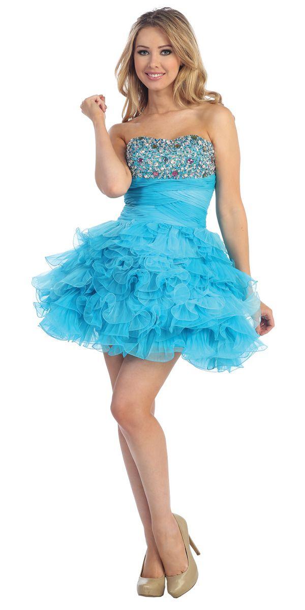 Tyrkysová ramínek miláček Ruched Empirewaist Ruffleds překryly Krátké šaty NA PLES s Jewel Lemování Accent LT5327-CK - Turquoise Šaty