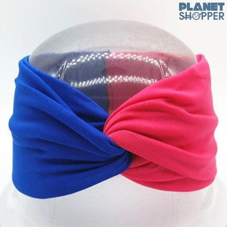 Boho Twist Colorblock Headband Orange & Navy